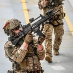 """Operator of JW Formoza during the """"Korsarz-19"""" exercise, wearing Ops-Core® FAST Covers in MultiCam®."""