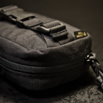 """Spartan-R"" EDC Waist Pack (Black, patch-friendly front with orange/black inside)."